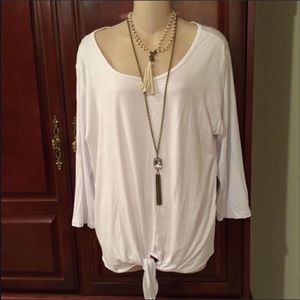 NWT Cha Cha Vente White Top with Tie Front